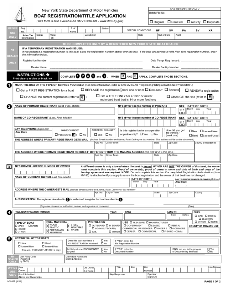 boat registration  title application