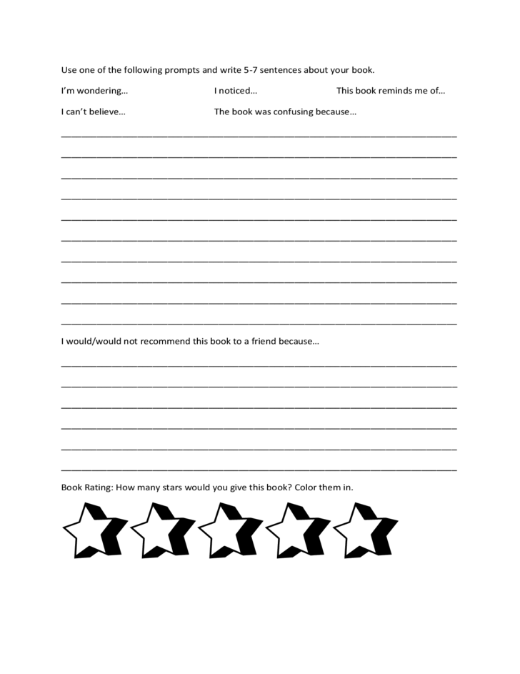elementary school book report template free download