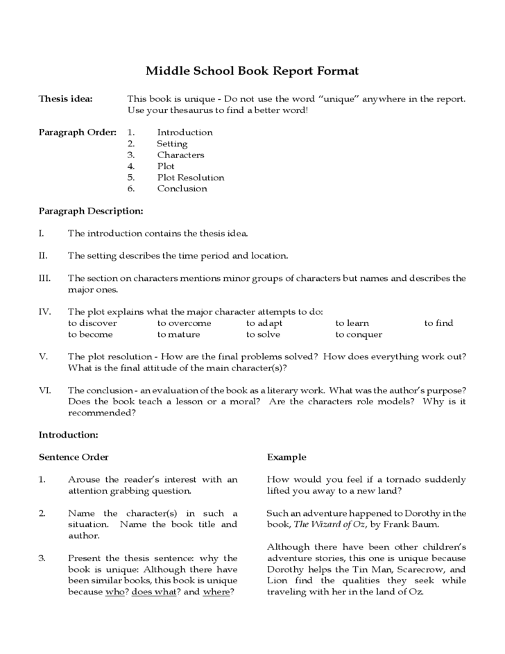 middle school book report template free download