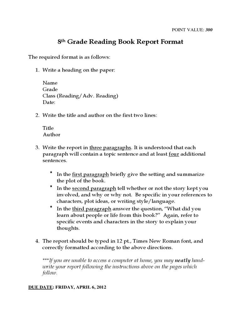8th grade book report list Report card comments & phrases  scoring rubric: summary  use this rubric to grade writing samples, essays, short passages, .