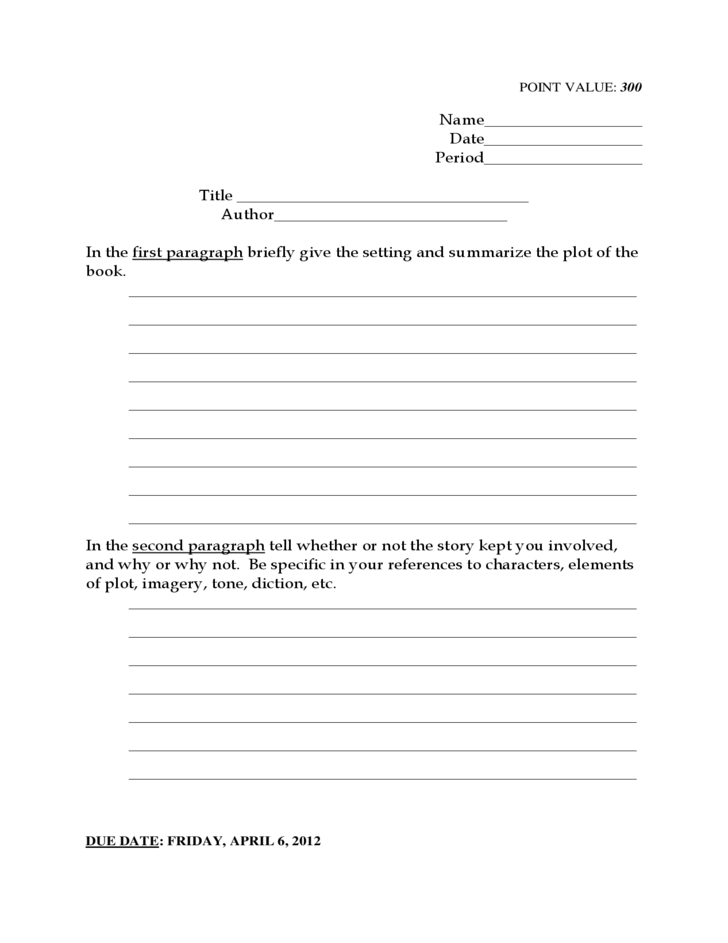 Book Report Format High School