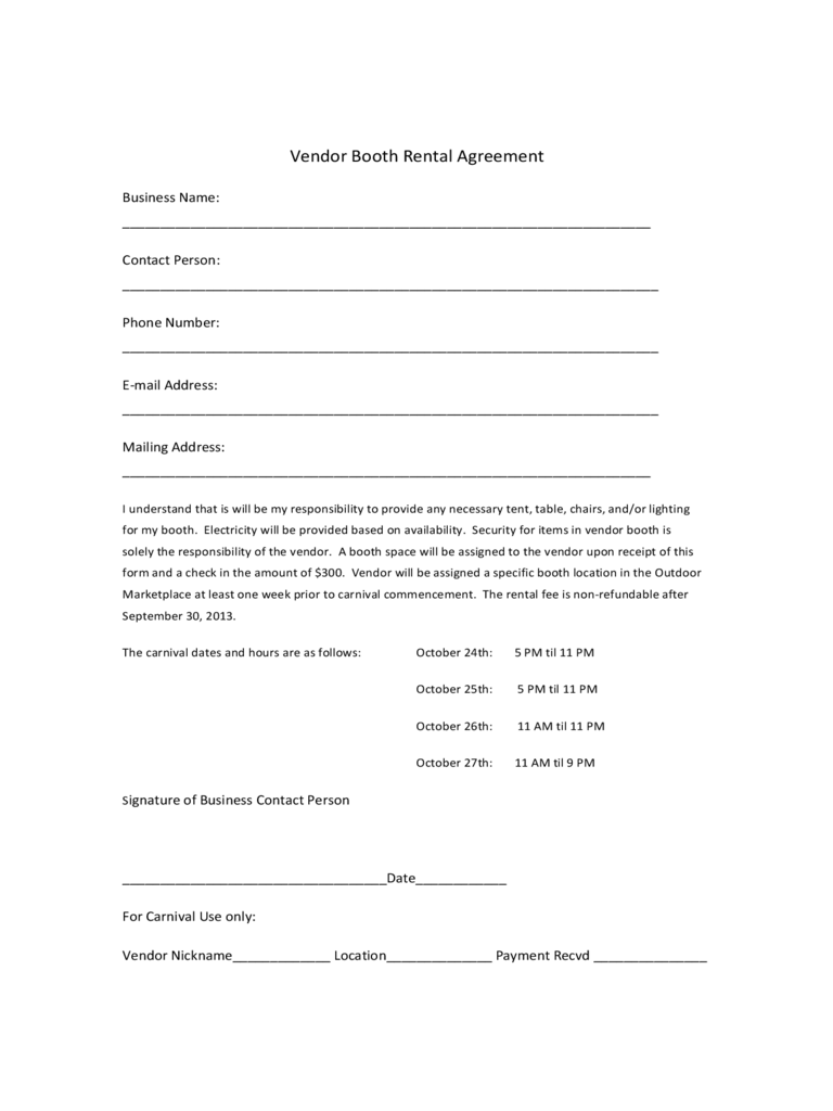 Booth Rental Agreement 6 Free Templates in PDF Word Excel Download – Booth Rental Agreement