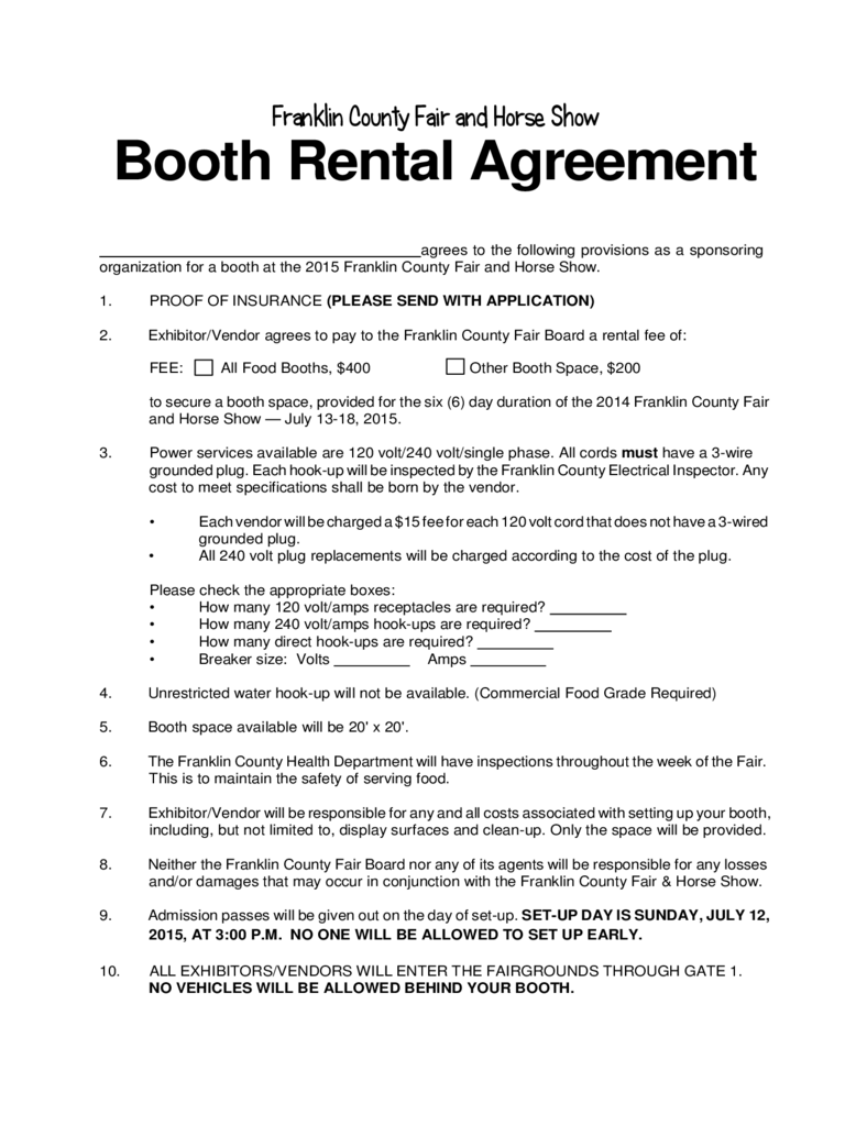 Booth Rental Agreement 6 Free Templates in PDF Word Excel Download – Vendor Agreement Template