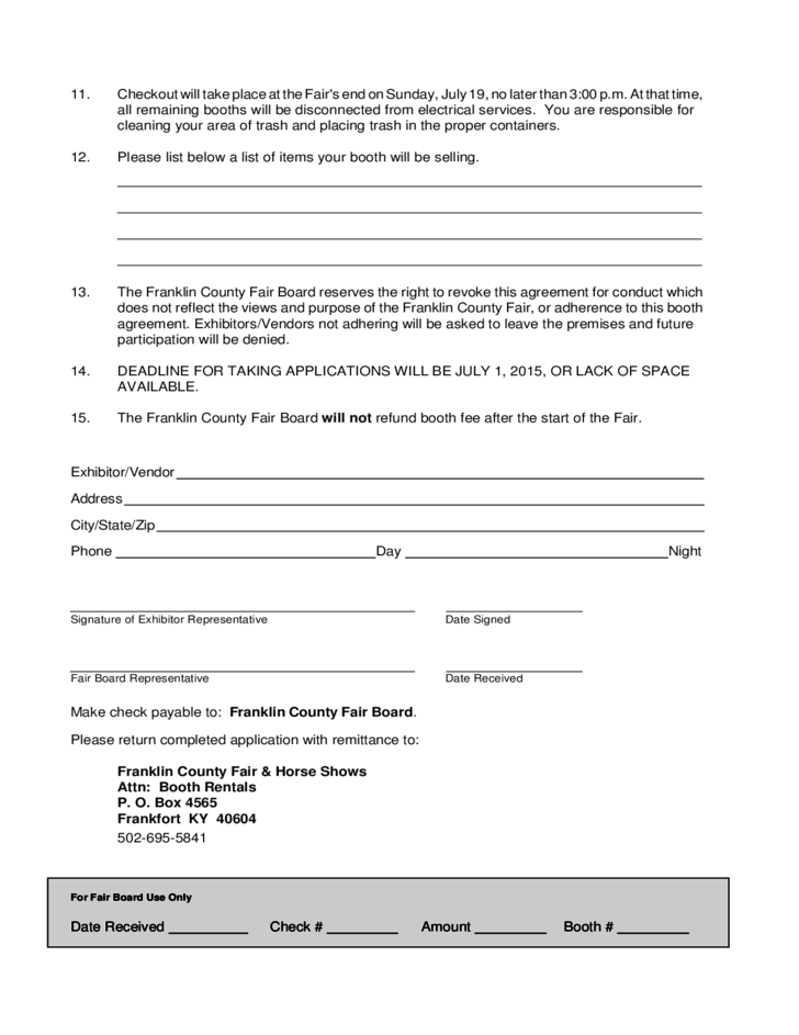 2 Sample Booth Rental Agreement Template