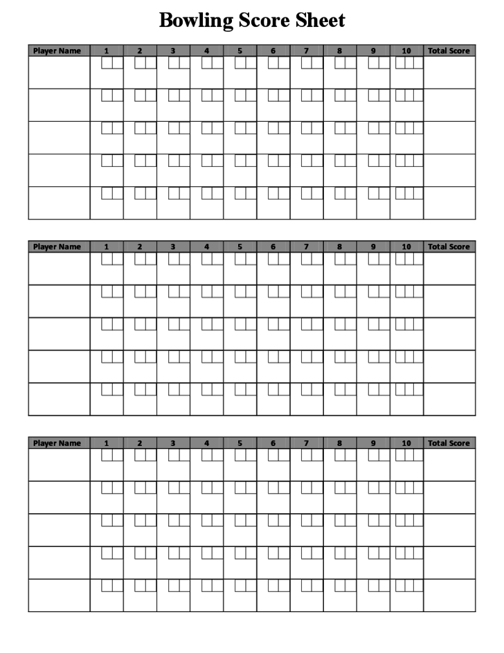 Bowling score sheet sample free download for Bowling recap sheet template