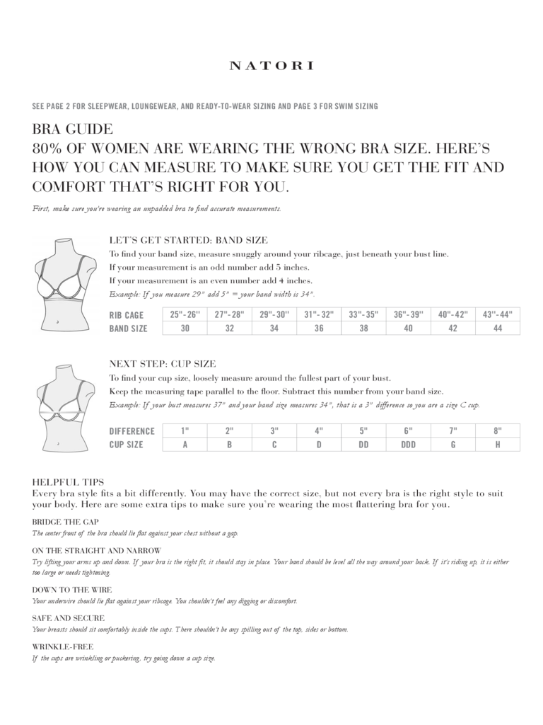 Bra Size Guidelines Free Download