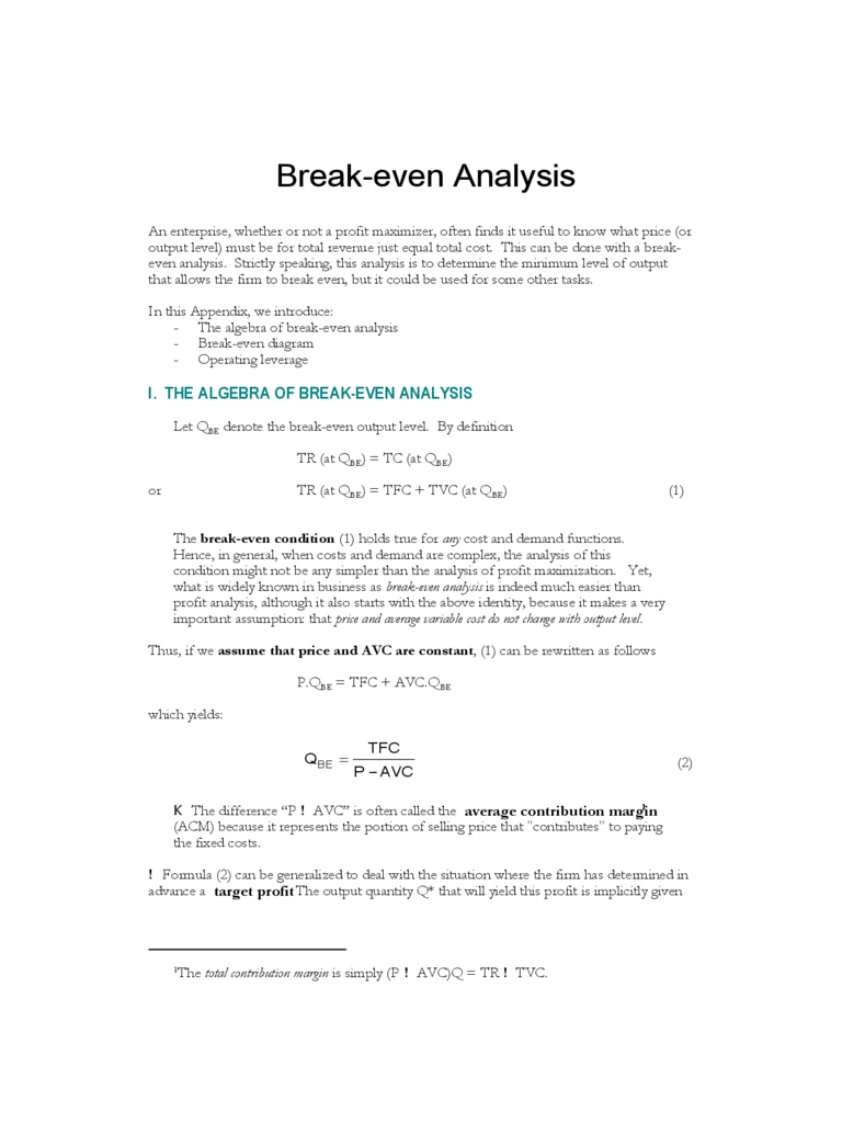 Break-even Analysis Form