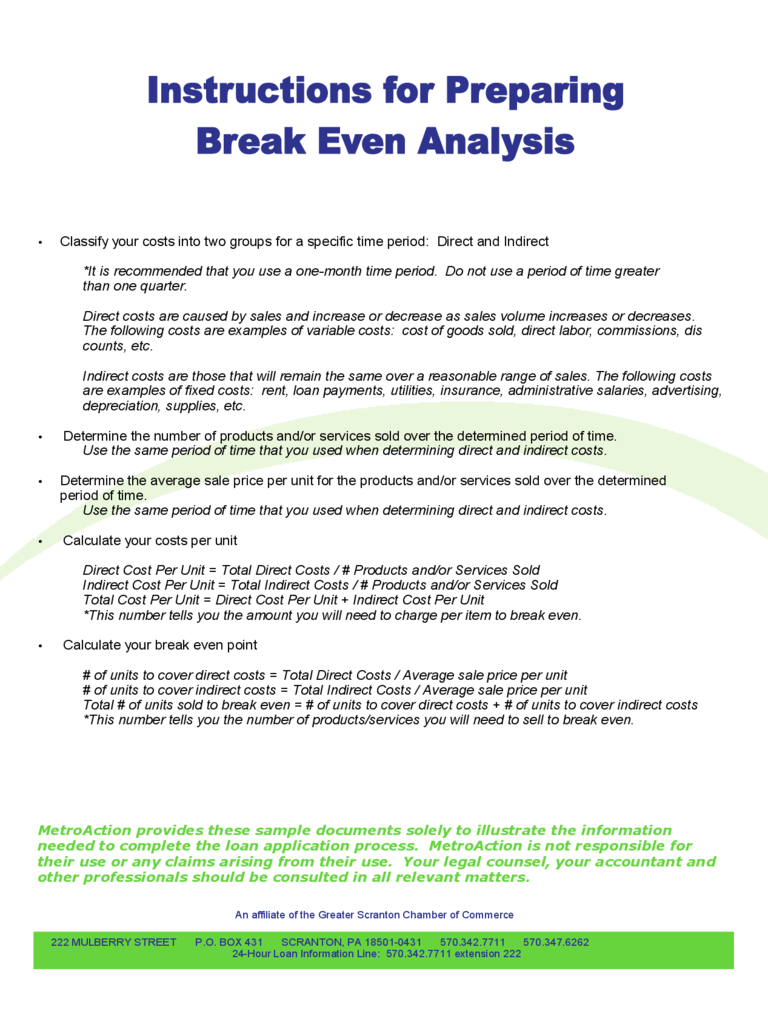 Instructions for Preparing Break Even Analysis