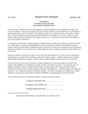 Break-Even Analysis Sample Template Free Download