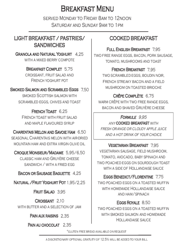 sample breakfast menu template