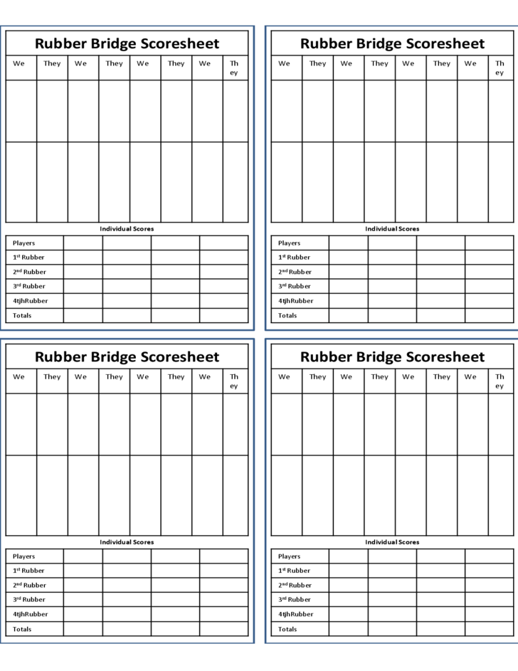 This is a graphic of Printable Bridge Score Sheets with pdf printable