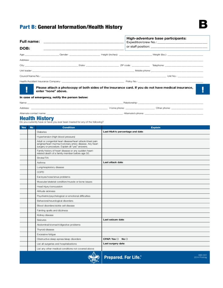 Parts A B C Boy Scouts of America Free Download – Boy Scout Medical Form