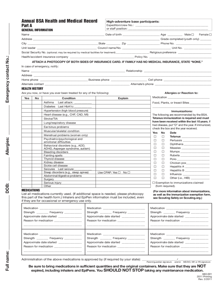 Annual BSA Health And Medical Record Free Download  Free Forms Templates