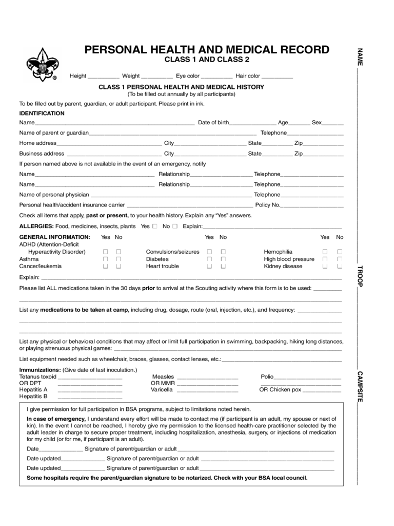 Doc12751650 Bsa Medical Form Bsa Medical Form 69 Similar – Bsa Medical Forms