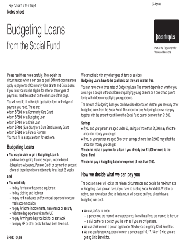 Bugeting Loans from the Social Fund - UK