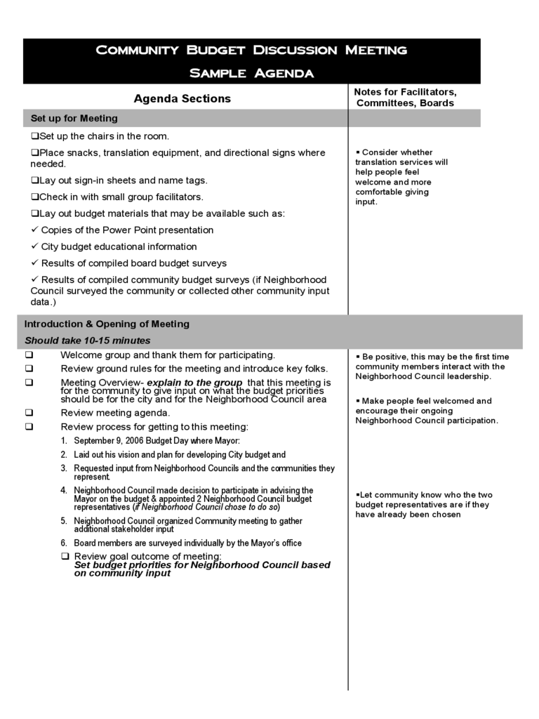 Budget Meeting Agenda Template 4 Free Templates In Pdf Word
