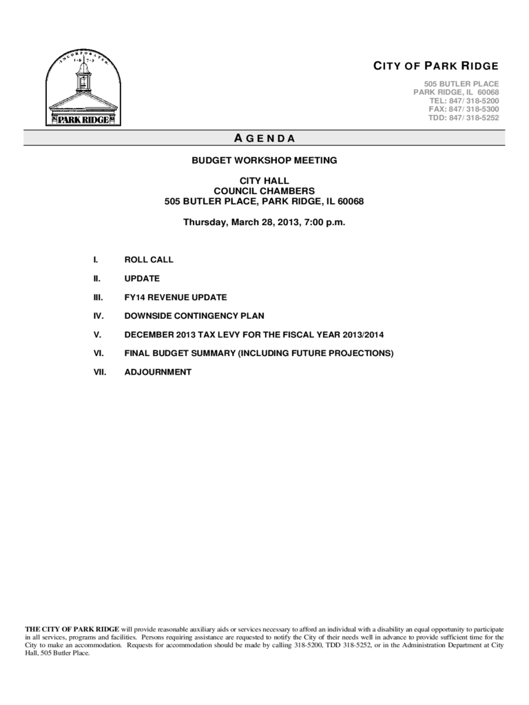 budget meeting agenda template
