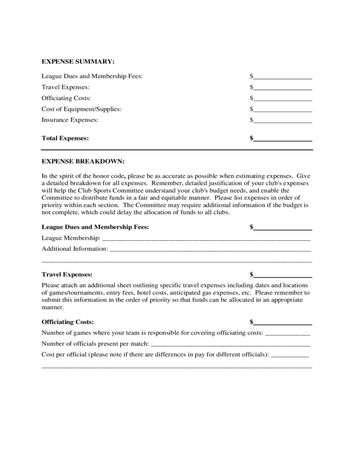 club sports budget proposal form free download