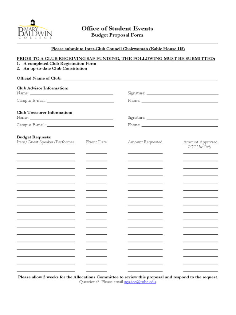 Sample Budget Proposal Form Free Download