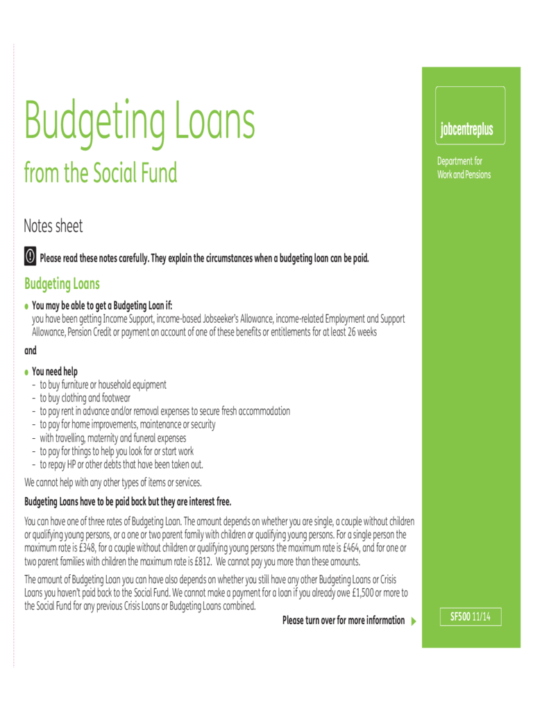 Budgeting Loans from the Social Fund
