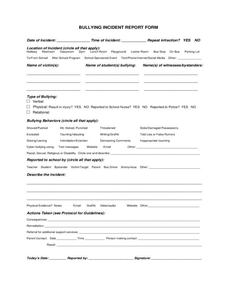 Bullying Incident Reporting Form Sample Free Download