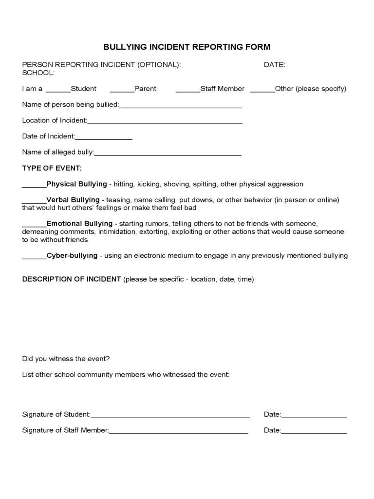 Bullying Report Form 2 Free Templates In Pdf Word