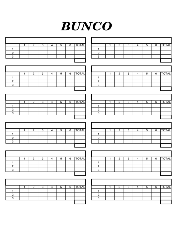 Blank bunco score sheet free download for Free bunco scorecard template