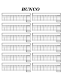 Blank Bunco Score Sheet Free Download