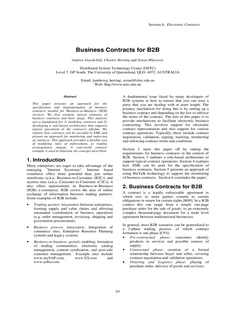 Business Contract for B2B