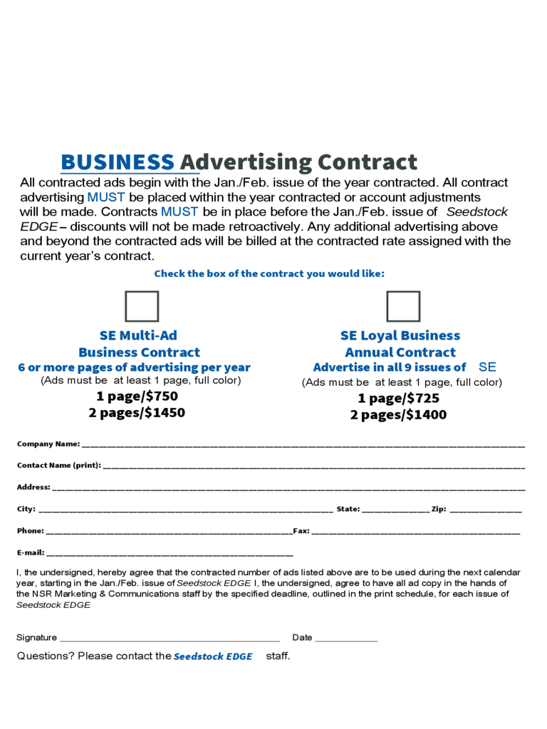 Business Advertising Contract  Free Business Contract
