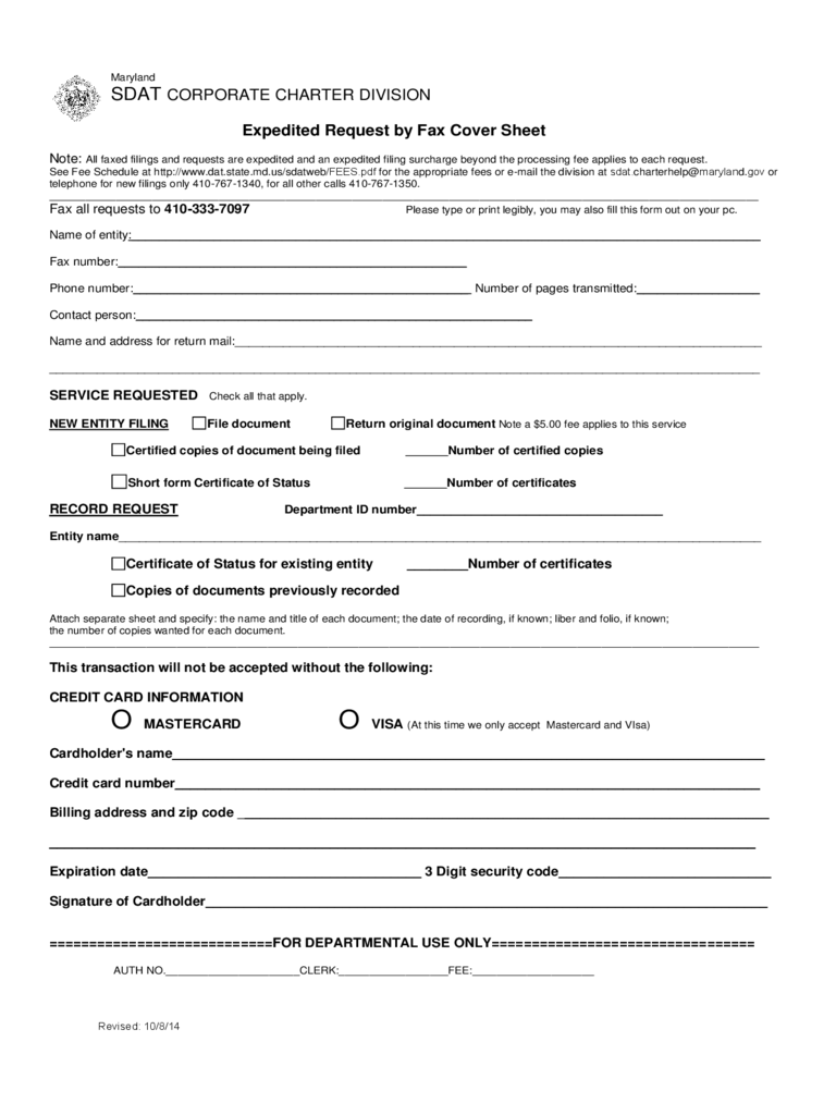 Business Fax Cover Sheet - Maryland