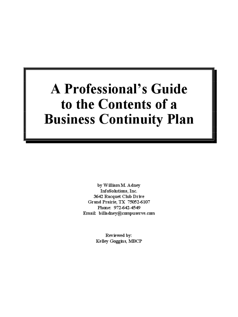 A Professional's Guide to the Contents of a Business Continuity Plan