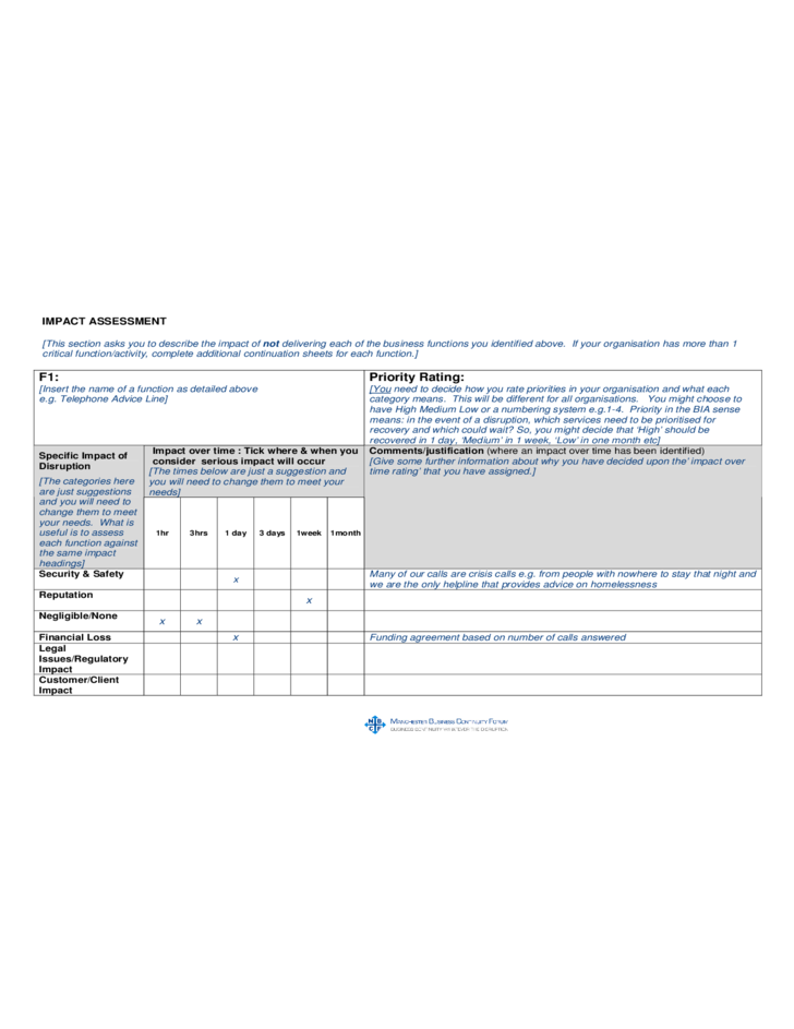 Building a business impact analysis bia process free for It business impact analysis template