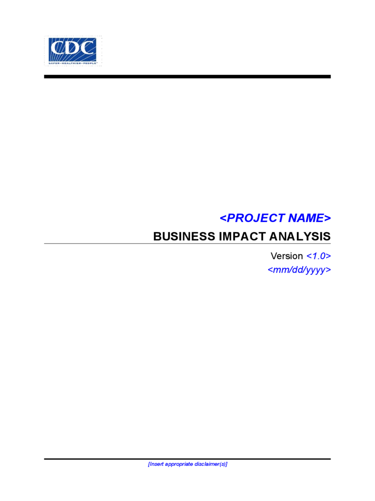Business Impact Analysis Sample