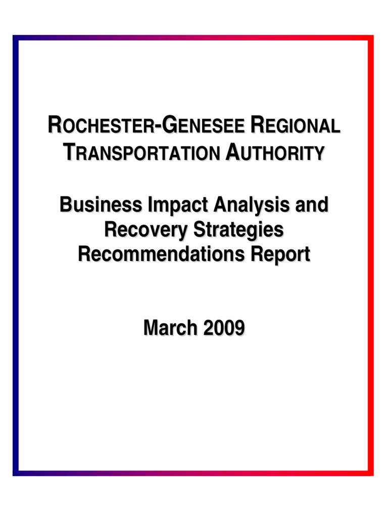 Business Impact Analysis and Recovery Strategies Recommendations Report