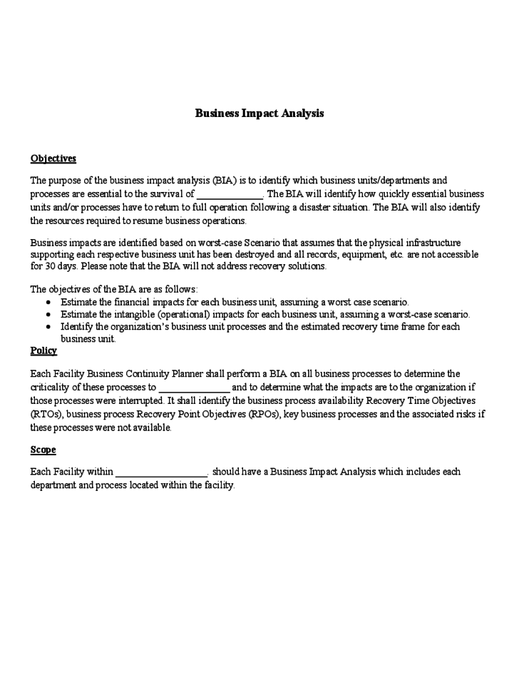 Impact assessment template for Recovery point objective template