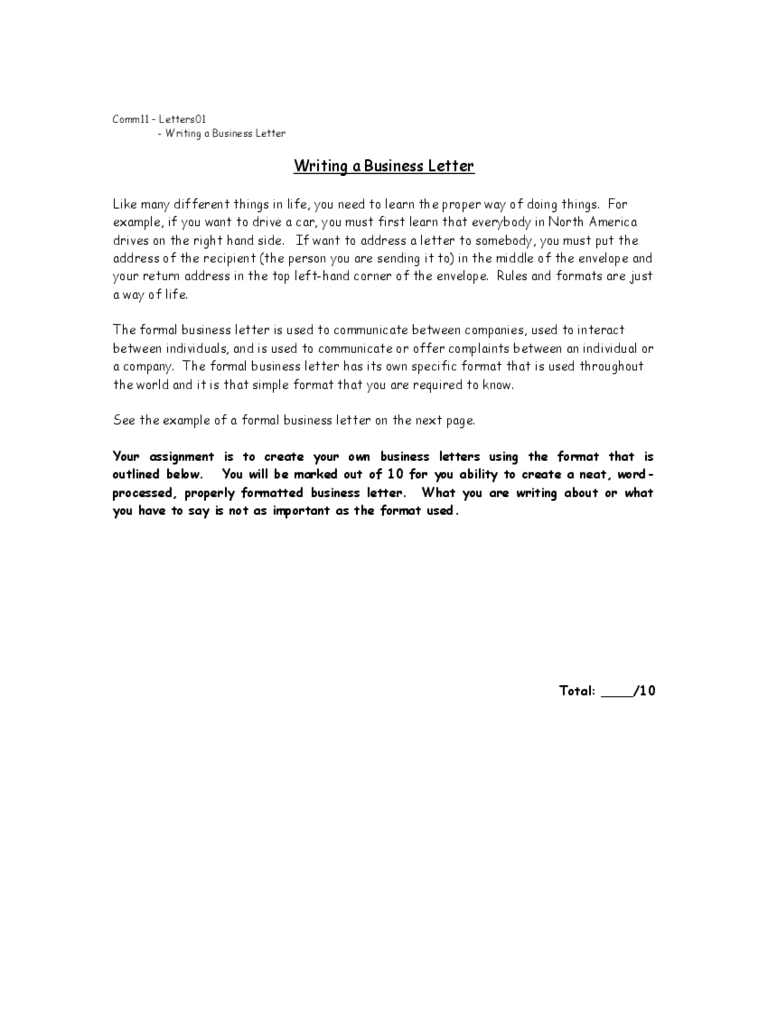 example for a proper business letter free download