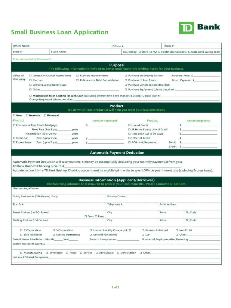small business credit application form