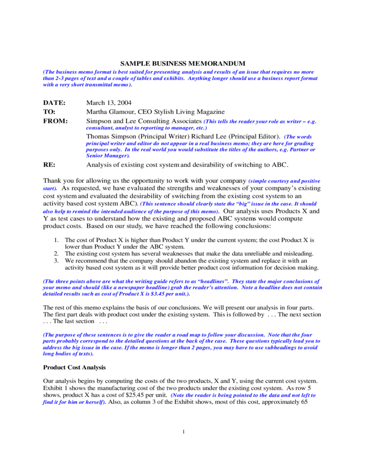 Sample Business Memo Free Download
