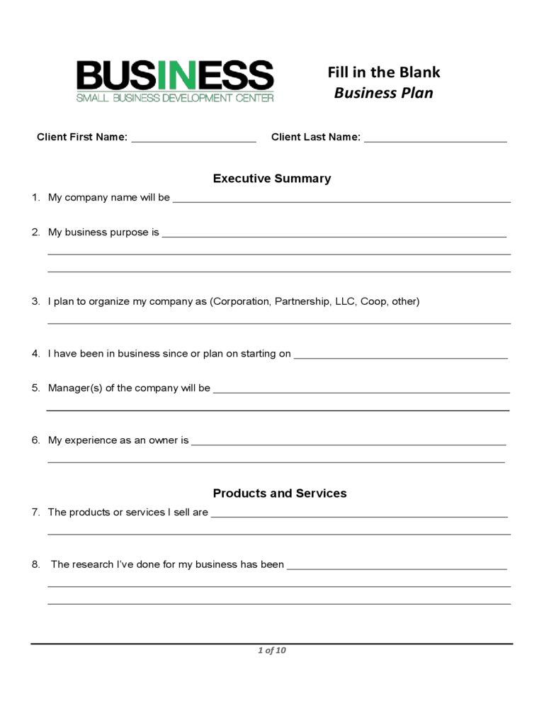 Business plan form 6 free templates in pdf word excel for Fnb business plan template