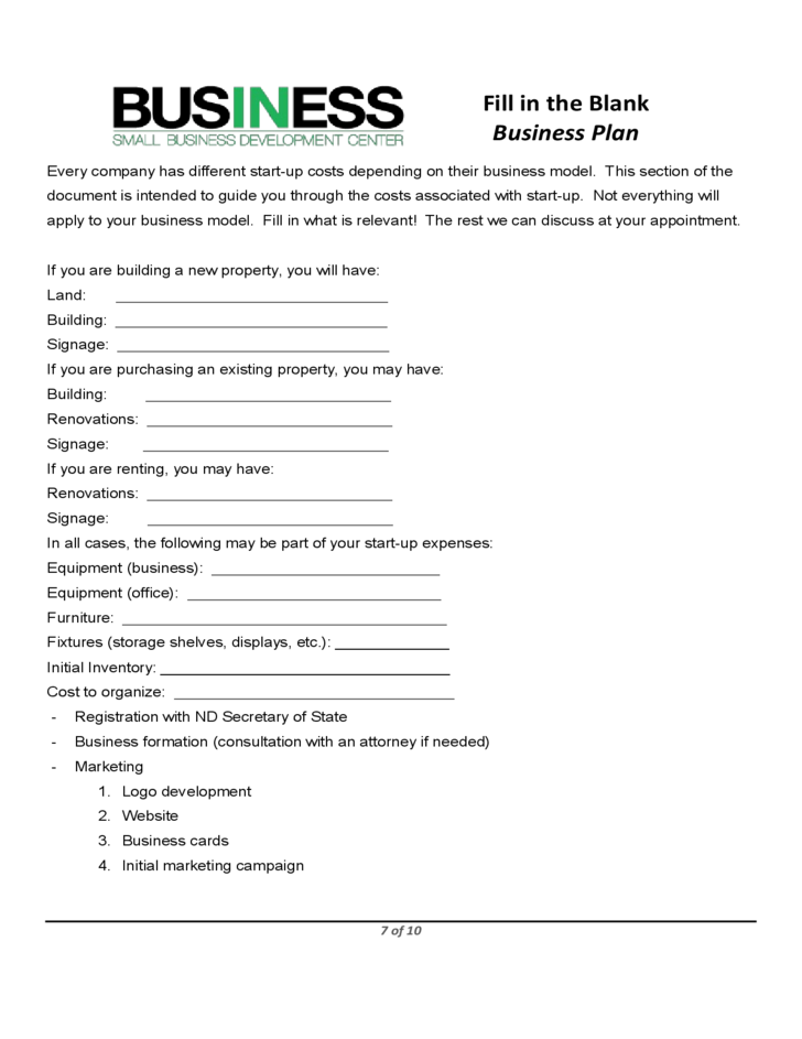sba blank business plan form free download