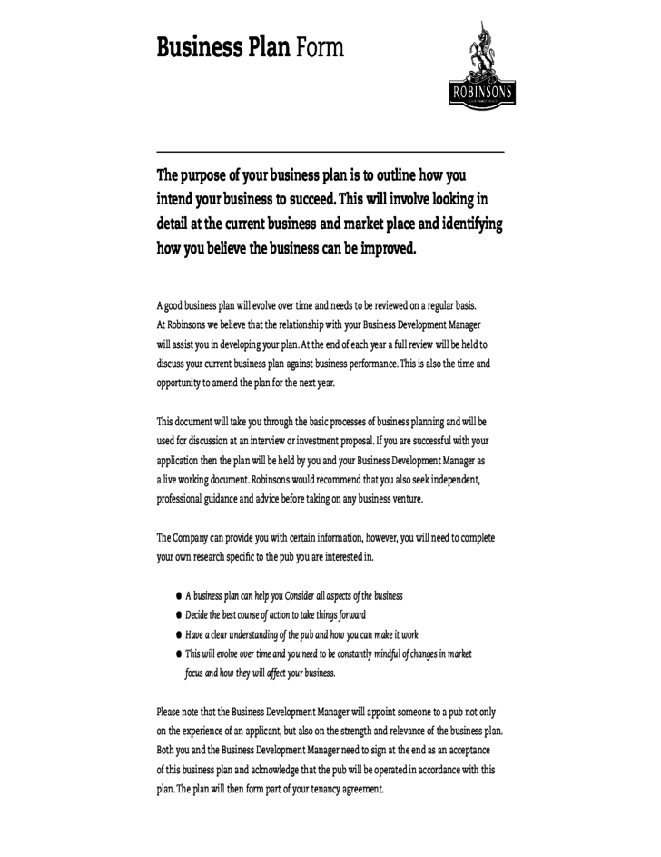 Detailed Business Plan Form Free Download