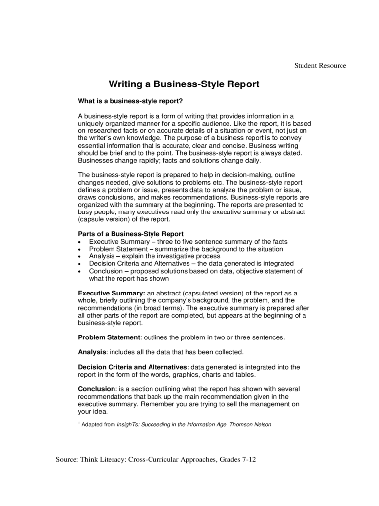 business report format example