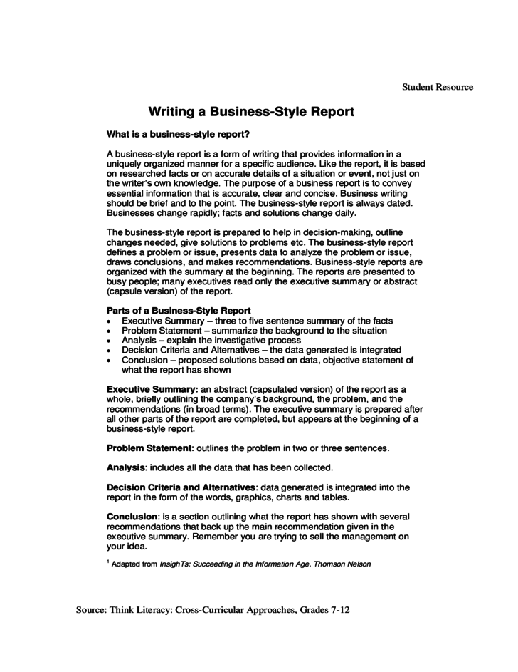 recommendations in a report for business