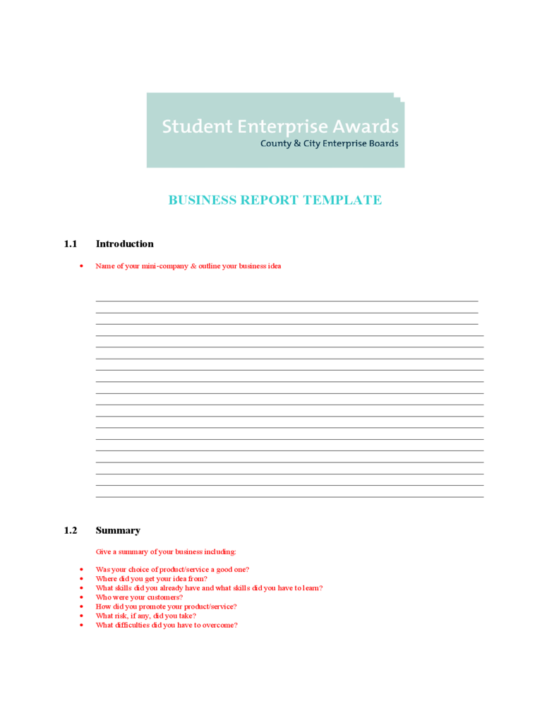 blank business report template
