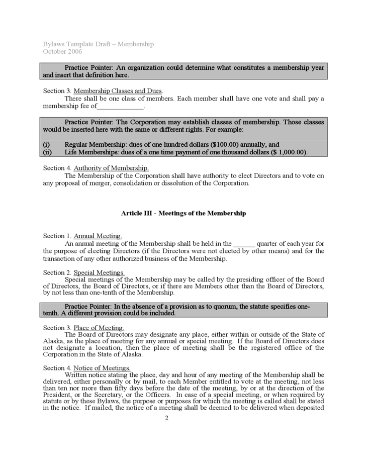 2 Bylaws Template Sample  Free Bylaws