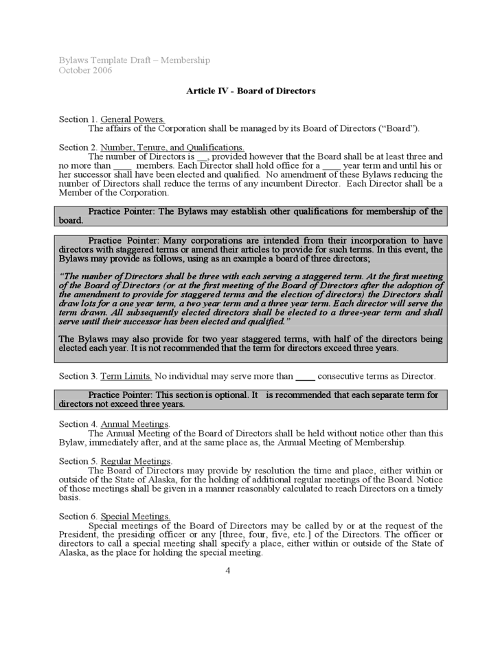 Bylaws Template Sample Free Download - Board bylaws template