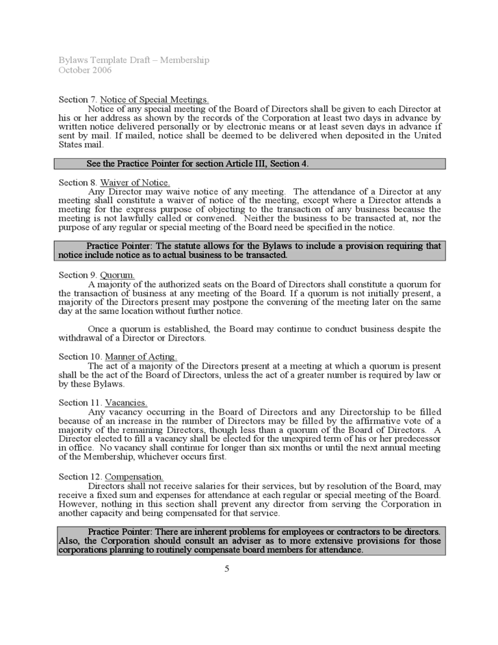 Bylaw Template Corporate Bylaw Template Bylaws Template with a – Free Bylaws