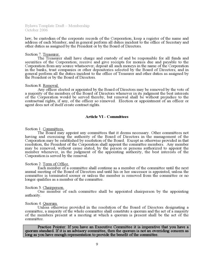 9 Bylaws Template Sample  Corporate Bylaws Template
