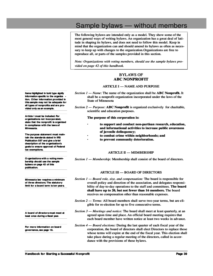 Sample Bylaws Without Members Free Download - Board bylaws template